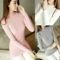 Women Ladies Pullover Sweater Knit Shirt Top Mock Neck Fit Stretch Jumper Blouse
