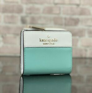KATE SPADE NEW YORK STACI LEATHER SMALL L ZIP BIFOLD WALLET PURSE $129 Blue