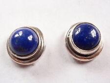 Round Blue Lapis 925 Sterling Silver Stud Earrings Corona Sun Medium Small