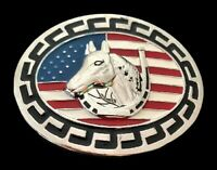 American USA Flag Horse Head Western Belt Buckle Buckles