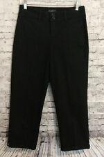 NYDJ Black Stretch Crop Pants Capri Rolled Rhinestone Lift Tuck Women's Size 2