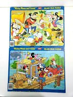 """Disney Collectible Mickey Mouse Tray Puzzles """"Concert"""" """"Houseboat"""" Jaymar"""