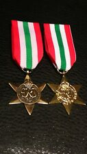 TWO COLLECTABLES MILITARIA ITALY STAR MEDAL WW2 MILITARY AWARD FULL SIZE