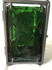 Lang Candle Holder Holiday Christmas Lantern Patio Green Glass Dark Metal NWT