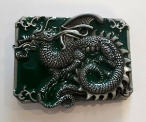 Small Oblong Ancient Chinese Dragon Belt Buckle fix to own belt