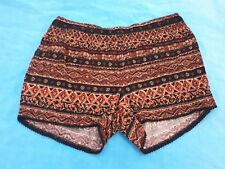 Rockmans Women's Size 14 shorts, tribal brown striped elastic casual loose A7