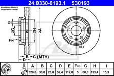 2x Bremsscheibe für Bremsanlage Vorderachse ATE 24.0330-0193.1