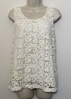 NWT Lucky Brand Small Tank Top Ivory Crochet Lace Lined Cotton Sleeveless Cami