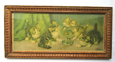 French Chromo frame + engraving: Cats and the aquarium, signed D. Merlin