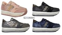 Womens Platform Trainers Lace Up Sneakers Camo Print Shiny High Ladies Shoes UK