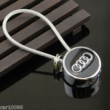 Metal Steel Wire Rope car Key Chain Double sided logo KeyChain Key ring For Audi