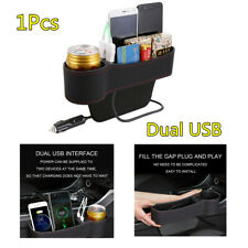 Car Seat Catch Box Crevice Organizer Pocket  PU Leather 2 USB Charger Cup Holder