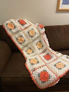 "Crochet Afghan Throw 3D Floral Peach Ivory Cream Handmade 69"" X 58"" Cottagecore"