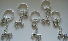 x5 HORSE & HORSESHOE KEYRINGS PONY PARTY BAG FILLERS BIRTHDAY RIDING GIFT FAVOR