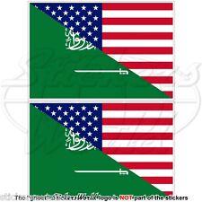 USA United States America-SAUDI ARABIA American-S.Arabian Flag 75mm Stickers x2
