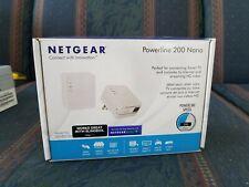 Netgear Powerline 200 Nano XAVB2101 Ethernet Wall Plug Pair w/ Box USED