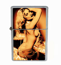 Pin Up Topless Rs1 Flip Top Oil Lighter Wind Resistant With Case