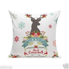 Cotton Linen Christmas Pillow Case Cushion Cover Sofa Home Car Decor Square