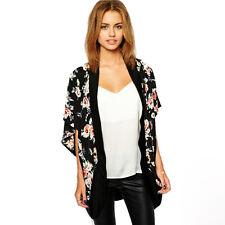 Fashion Women Blouses Floral Splice Chiffon Shawl Kimono Cardigan Tops Cover up