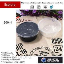 30 Sets Plastic Round Take away Food Container Bento Box 300ml, Black Bowl