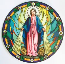 MARY OUR LADY MIRACULOUS MEDAL - STAINED GLASS WINDOW SUNCATCHER