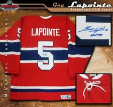 GUY LAPOINTE Signed & Inscribed Montreal Canadiens Red Vintage CCM Jersey