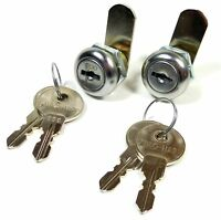 "2/Pk 7/8"" Double Bitted Cam Lock 6-Disc Tumbler Keyed Alike 2 Keys Ea Cabinets"