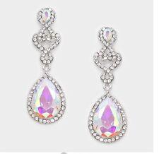 "2.2"" Long Aurora Borealis AB Silver Dangle Pierced Clear Bridal Crystal Earrings"