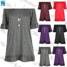 Womens Necklace Elasticated Bardot Peplum Sleeve Ladies Frill Dress Plus Size