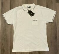 Roberto Cavalli Men's White Polo T-Shirt  Size XL, XXL RFID CHIP AUTHENTICITY