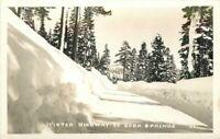 Sierra Nevada California 1940s Winter Highway Soda Springs RPPC Postcard 20-1800
