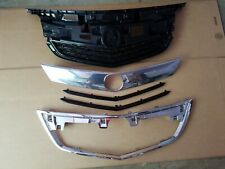 5PC Set 2012-2014 ACURA TL Front Bumper Upper Grille w/ Black & Chrome Moldings