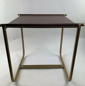 Vintage Leather And Gold Tone Metal Side End Table Mid Century Modern MOD Style