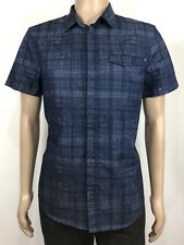 CALVIN KLEIN Sz L Men's Shirt  Button Down Short Sleeve 100% Cotton Speci desing