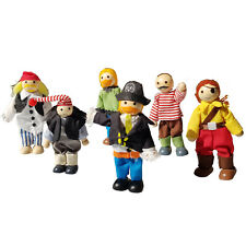 Wooden Doll House Family of 6 - Poseable - PIRATES