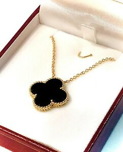 20mm Four Leaf Clover Natural Black Onyx Stone  18K Yellow Gold Neckless