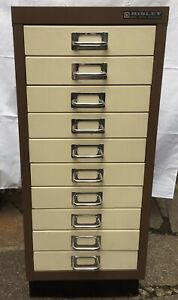 Bisley Filing Cabinet Two Colour Ten Drawer contained documents  dated 1976