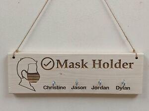 Personalised Mask Holder Wooden Hanger