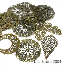 200g Mixed Shapes Antique Bronze Iron Filigree Pendants Findings Nickel Free