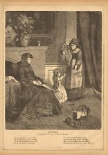 Mother And Child, Sewing, Baby Buggy, Vintage 1872 German Antique Art Print
