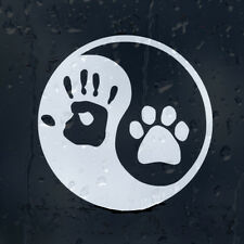 Funny Dog Paw Ying Yang Hand Print Sign Car Truck Wall Door Vinyl Sticker Decal