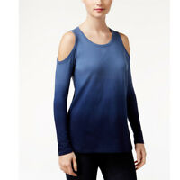 Style & Co Petite Ombre Cold-Shoulder Top, Industrial Blue, PM