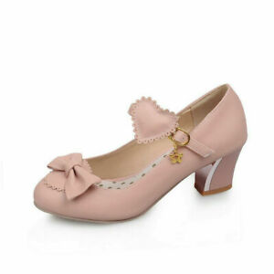 Women's Sweet Love Carved Chunky Heel Lolita Shoes Lace British Mary Jane Shoes
