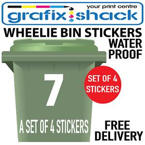 4 Pack Large White Wheelie Bin Numbers Self Adhesive Vinyl Stickers