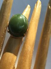 R17 antique JADEITE RING natural un-treated DEEP GREEN size 7.5 STERLING/14k JPN