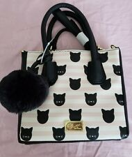 LUV Betsey Johnson Pink Cat Printed  Satchel Crossbody Bag NWOT