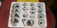 Vintage ABC 17pc Xmas China Tea Set - Christmas Kids Complete #16765 Tree Age 5+