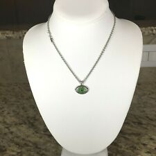 NEW Sterling Silver, Tsavorite, Black Spinel and Diamonds Evil Eye Necklace