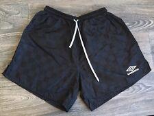 UMBRO Shorts 80s Vtg Black Checkered Nylon Soccer Basketball Drawstring USA L