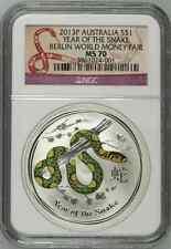 2013 NGC MS70 Australia 1 Oz Silver Berlin Fair Colorized Snake $1 Coin Bullion